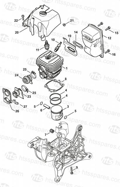 Stihl TS410 Cylinder And Muffler Parts