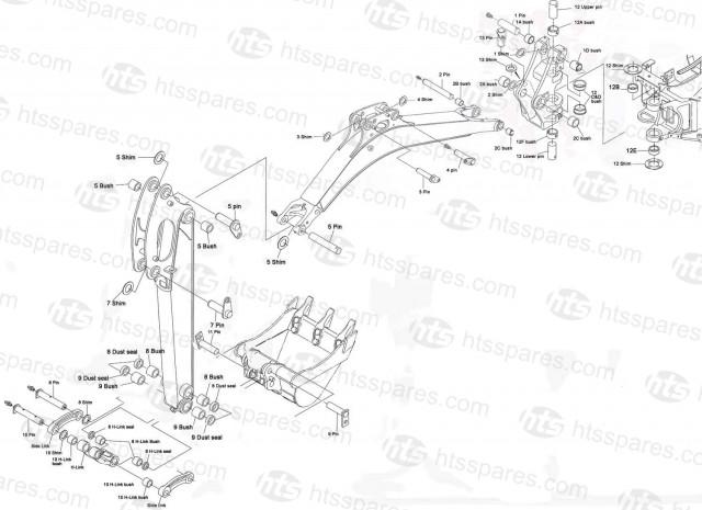 Kx015-4, Kx016-4, Kx018-4, Kx019-4 Pins & Bushes