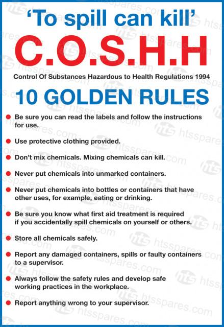Coshh 10 Golden Rules