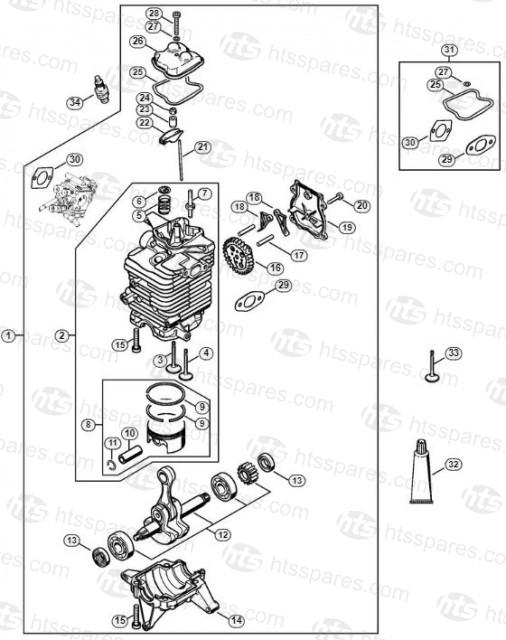 Stihl BR600 Blower Cylinder & Engine Pan - Muffler Gasket