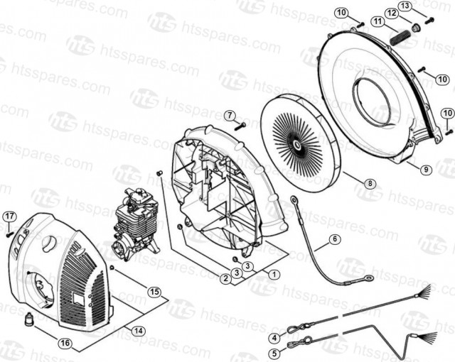 stihl br600 blower fan housing & shroud parts